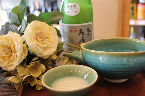 信楽焼 酒器 青釉注器 + ぐい呑(2)
